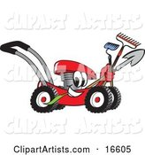 Red Lawn Mower Mascot Cartoon Character Passing by with a Hoe, Rake and Shovel