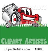 Red Lawn Mower Mascot Cartoon Character Smiling While Mowing Grass