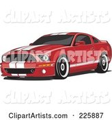 Red Mustang with White Racing Stripes