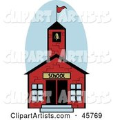 Red, One Room Brick School House with a Bell Tower and Flag