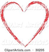Red Painted Heart Outline, over White