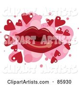 Red Pair of Lips over Pink Spots with Red Hearts on White