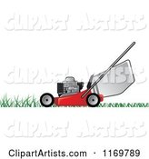 Red Push Lawn Mower on Grass