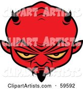 Red Satan Head with Yellow Eyes, Horns and a Goatee