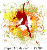 Red Silhouetted Woman Leaping over a Green, Yellow and Orange Grunge Background of Vines, Circles and Butterflies