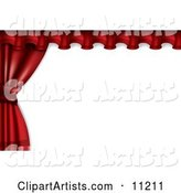 Red Stage or Window Curtains Pulled and Tied to the Side