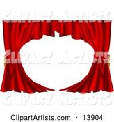Red Velvet Theatre Curtains Swept to the Side