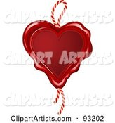 Red Wax Seal Heart with a Rope