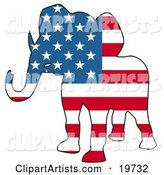 Republican Elephant Silhouette with Stars and Stripes of the American Flag