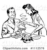 Retro Black and White Woman Pouring Her Husband Coffee