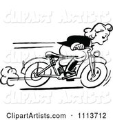 Retro Black and White Woman Racing a Motorcycle