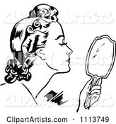 Retro Black and White Woman Using a Hand Mirror