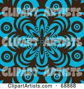 Retro Brown and Turquoise Flower Pattern Background