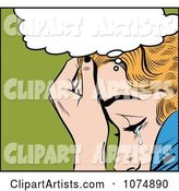 Retro Pop Art Blond Woman Crying Under a Thought Balloon