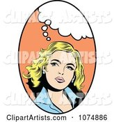 Retro Pop Art Blond Woman with a Thought Balloon in an Oval