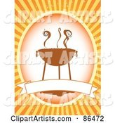 Retro Smoking Bbq Label with a Blank Banner over Orange