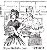 Retro Teenage Couple with Books and School Blueprints in Black and White