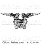 Retro Vintage Black and White Bald Eagle and American Shield