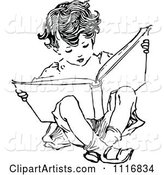 Retro Vintage Black and White Boy Reading and Sitting