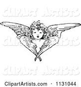 Retro Vintage Black and White Cherub Angel and Wings