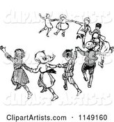Retro Vintage Black and White Dancing Children