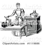 Retro Vintage Black and White Domestic Housewife Canning