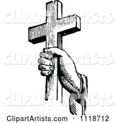 Retro Vintage Black and White Hand Holding a Cross