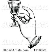 Retro Vintage Black and White Hand Toasting with Wine