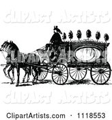Retro Vintage Black and White Horse Drawn Coach Carriage