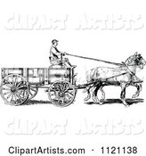 Retro Vintage Black and White Horse Pulling a Wagon