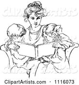 Retro Vintage Black and White Mother Reading to Her Children