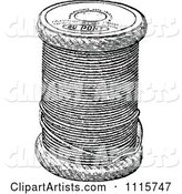 Retro Vintage Black and White Spool of Sewing Thread
