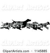 Retro Vintage Silhouetted Border of Running Dogs