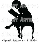 Retro Vintage Silhouetted Woman Reading