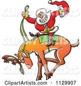 Rodeo Santa Riding a Bucking Christmas Reindeer