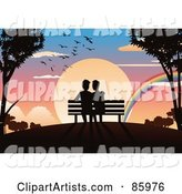 Romantic Gay Couple Sitting on a Bench, Watching a Rainbow in Front of a Sunset