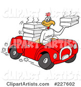 Rooster Chicken Driving a Convertible Car and Delivering Food