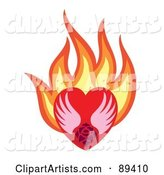 Rose and Wings in a Flaming Red Heart