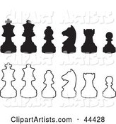 Rows of Silhouetted White and Black Chess Pieces