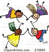 Royalty-Free (RF) Clipart Illustration of a Childs Sketch of Four Kids Holding Hands While Falling - 5
