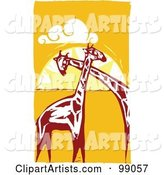 Royalty-Free (RF) Clipart Illustration of Giraffes Cuddling Against an African Sunset