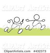 Royalty-Free (RF) Clipart Illustration of Stickler Men Running a Relay Race - 2