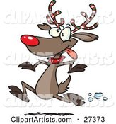 Rudolph the Red Nosed Reindeer with Festive Red, White and Green Striped Antlers, Running in the Snow