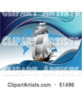 Sailing Ship on Blue with Continents