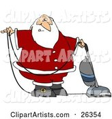 Santa in Uniform, Vacuuming Carpet with a Vacuum