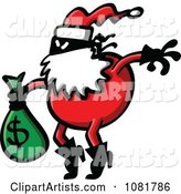 Santa Robber Carrying a Money Bag