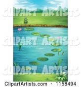 Scenic Landscape of a Frog by a Lily Pond