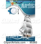 Seafood Menu Template with a Tall Ship with Grungy Blue