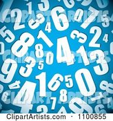 Seamless Background Pattern of White Numbers on Blue