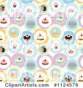 Seamless Cake and Dessert Background Pattern 3